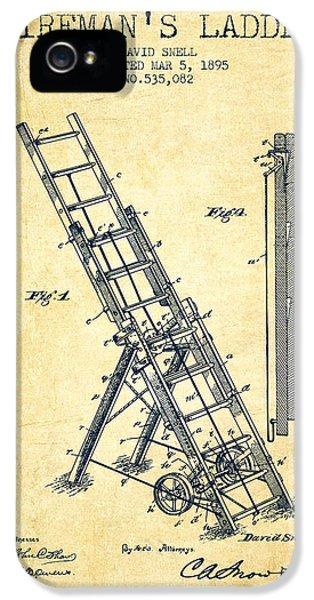 1895 Firemans Ladder Patent - Vintage IPhone 5 Case by Aged Pixel