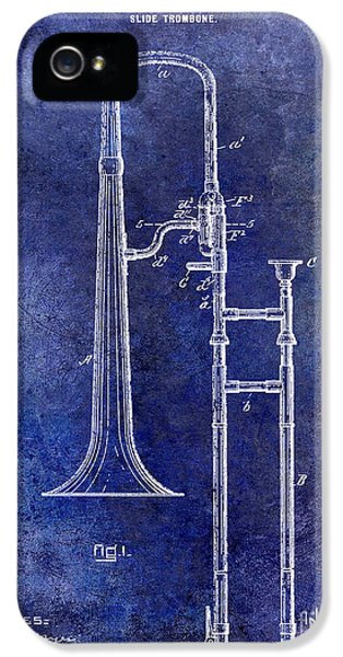 Trombone iPhone 5 Case - 1902 Trombone Patent Blue by Jon Neidert