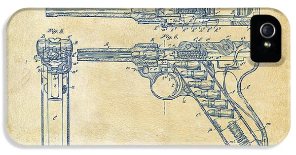 1904 Luger Recoil Loading Small Arms Patent - Vintage IPhone 5 Case by Nikki Marie Smith