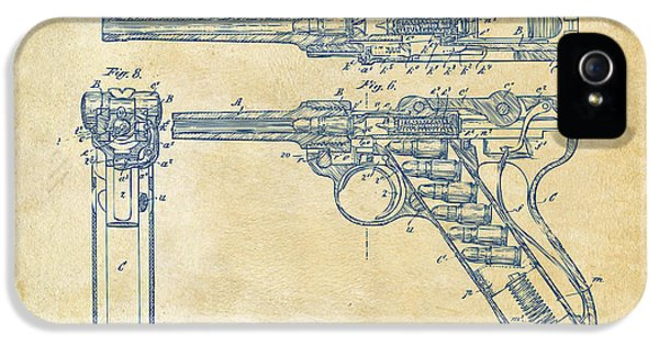 X-ray iPhone 5 Cases - 1904 Luger Recoil Loading Small Arms Patent - Vintage iPhone 5 Case by Nikki Marie Smith
