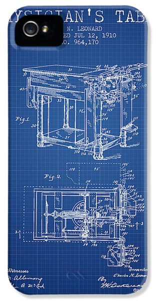 1910 Physicians Table Patent - Blue Print IPhone 5 Case by Aged Pixel