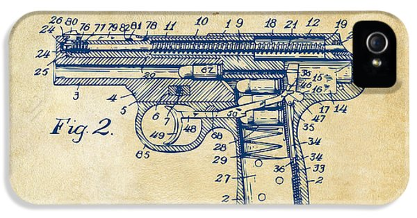 1911 Automatic Firearm Patent Minimal - Vintage IPhone 5 Case by Nikki Marie Smith