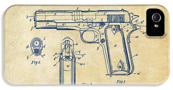 1911 Colt 45 Browning Firearm Patent Artwork Vintage IPhone 5 Case by Nikki Marie Smith