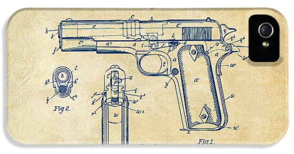 1911 Colt 45 Browning Firearm Patent Artwork Vintage IPhone 5 Case