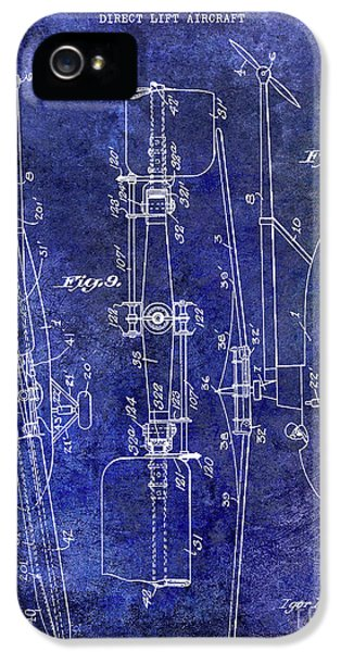 1935 Helicopter Patent Blue IPhone 5 Case by Jon Neidert
