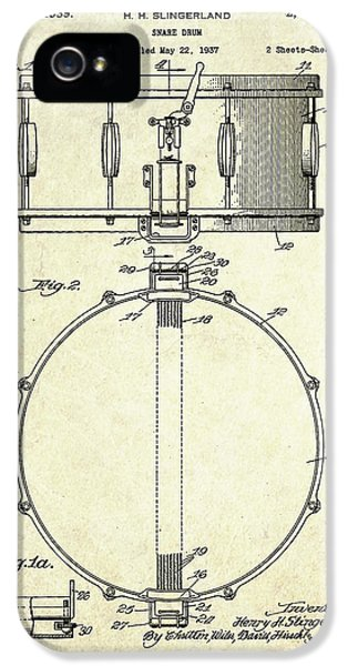 1939 Slingerland Snare Drum Patent S1 IPhone 5 Case by Gary Bodnar