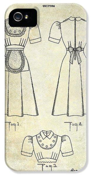 1940 Waitress Uniform Patent IPhone 5 Case by Jon Neidert