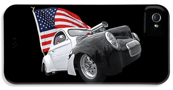 1941 Willys Coupe With Us Flag IPhone 5 Case