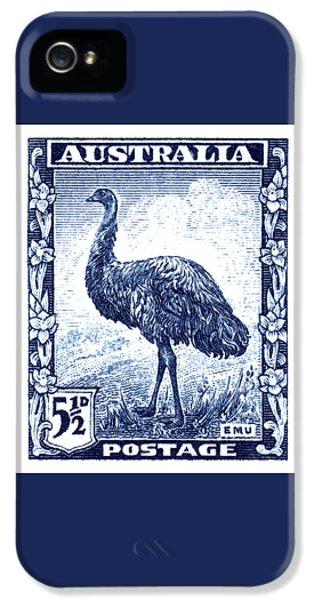 Emu iPhone 5 Case - 1942 Australia Emu Bird Postage Stamp by Retro Graphics