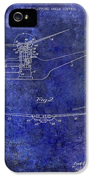 1947 Helicopter Patent Blue IPhone 5 Case by Jon Neidert
