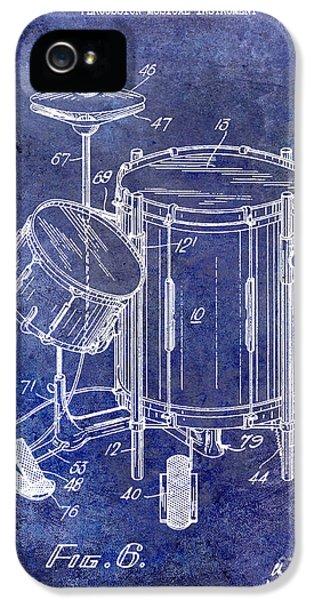 Drum iPhone 5 Case - 1951 Drum Kit Patent Blue by Jon Neidert