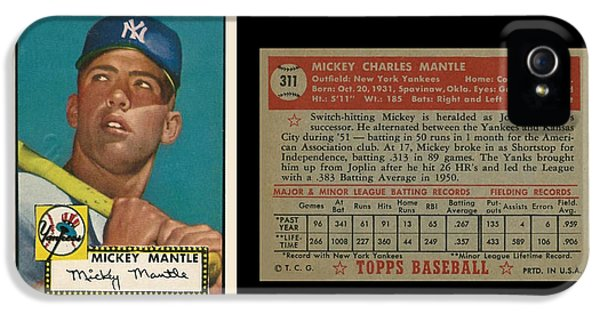 1952 Topps Mickey Mantle Rookie Card IPhone 5 Case by Art Kurgin