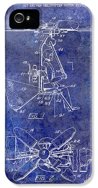 1956 Helicopter Patent Blue IPhone 5 / 5s Case by Jon Neidert