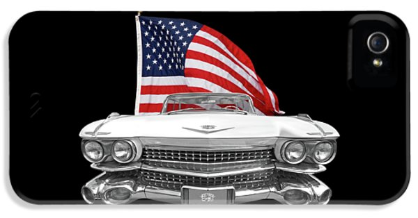 1959 Cadillac With Us Flag IPhone 5 Case