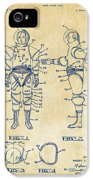 1968 Hard Space Suit Patent Artwork - Vintage IPhone 5 Case by Nikki Marie Smith