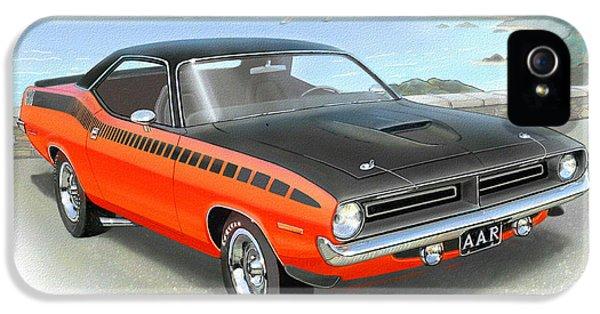 1970 Barracuda Aar  Cuda Classic Muscle Car IPhone 5 / 5s Case by John Samsen