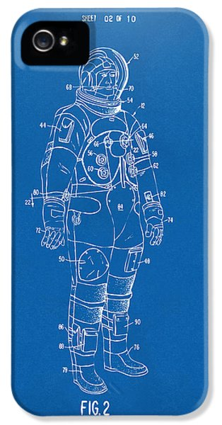 1973 Astronaut Space Suit Patent Artwork - Blueprint IPhone 5 Case