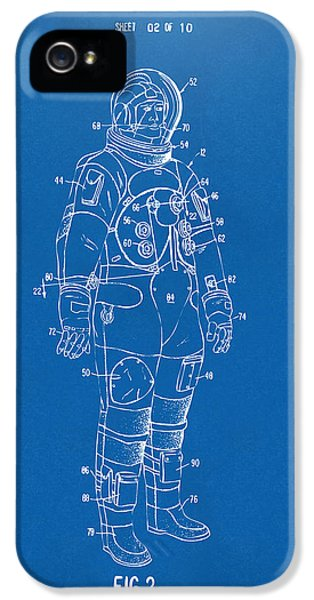 1973 Astronaut Space Suit Patent Artwork - Blueprint IPhone 5 Case by Nikki Marie Smith