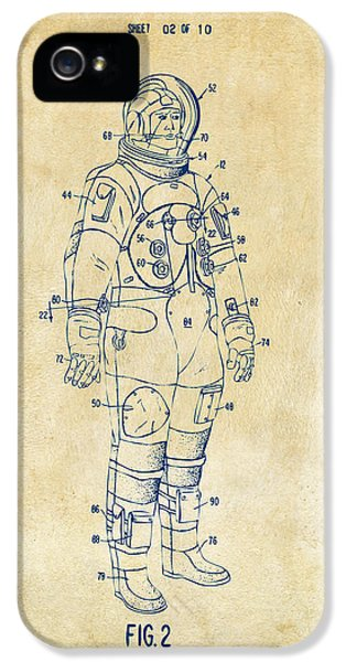 1973 Astronaut Space Suit Patent Artwork - Vintage IPhone 5 Case