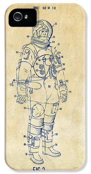 1973 Astronaut Space Suit Patent Artwork - Vintage IPhone 5 Case by Nikki Marie Smith