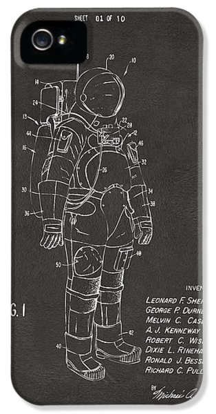 1973 Space Suit Patent Inventors Artwork - Gray IPhone 5 Case by Nikki Marie Smith