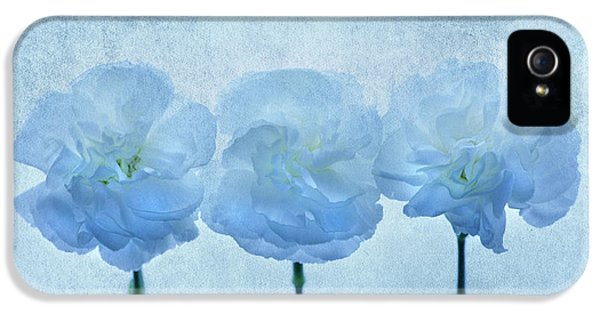 Carnations iPhone 5 Cases - Blue on Blue iPhone 5 Case by Rebecca Cozart