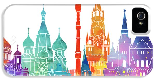 Moscow Skyline iPhone 5 Case - Paris Landmarks Watercolor Poster by Pablo Romero