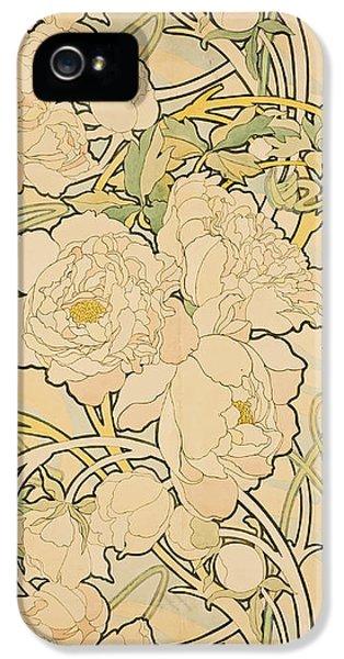 Flowers iPhone 5 Case - Peonies by Alphonse Mucha