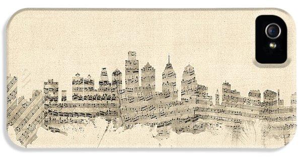Philadelphia Skyline iPhone 5 Case - Philadelphia Pennsylvania Skyline Sheet Music Cityscape by Michael Tompsett