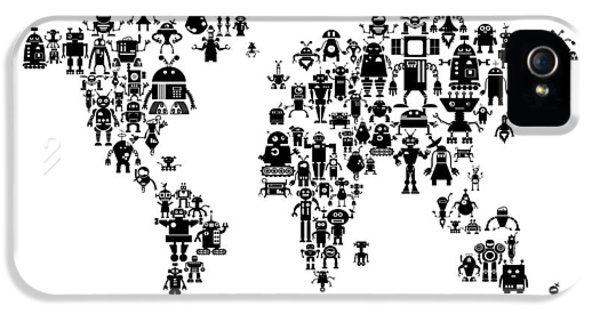 Robot Map Of The World Map IPhone 5 Case by Michael Tompsett