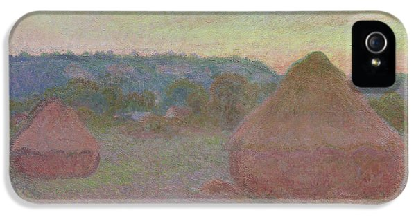 Stacks Of Wheat  End Of Day, Autumn IPhone 5 Case by Claude Monet
