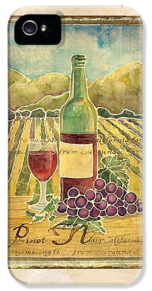 Vineyard Pinot Noir Grapes N Wine - Batik Style IPhone 5 Case by Audrey Jeanne Roberts