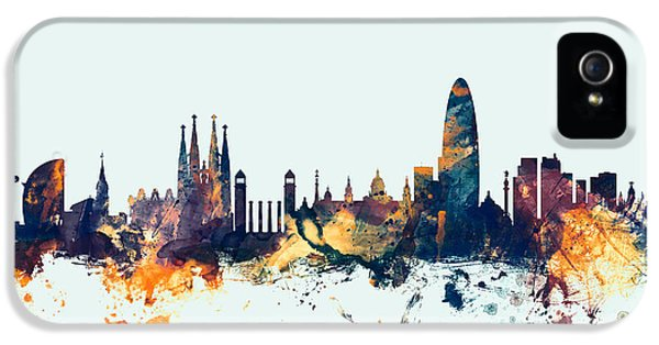 Barcelona Spain Skyline IPhone 5 Case by Michael Tompsett
