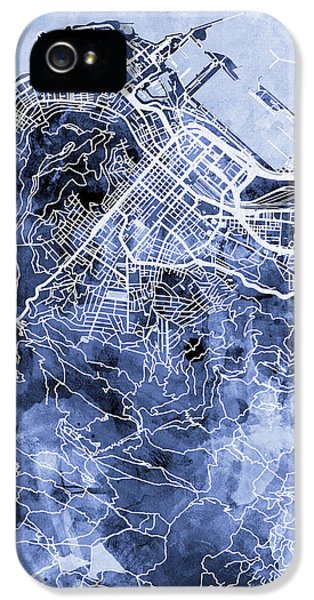 Town iPhone 5 Case - Cape Town South Africa City Street Map by Michael Tompsett