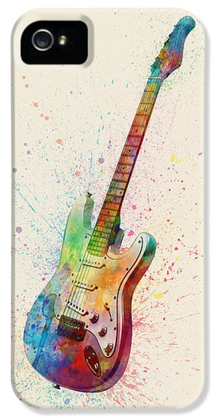 Guitar iPhone 5 Case - Electric Guitar Abstract Watercolor by Michael Tompsett