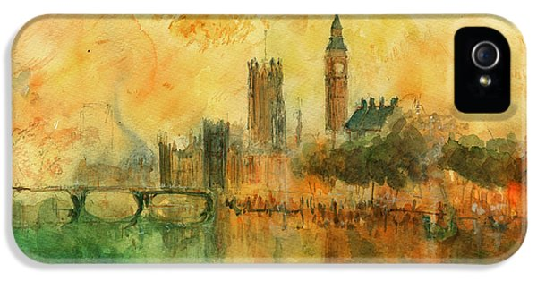 London Watercolor Painting IPhone 5 Case by Juan  Bosco