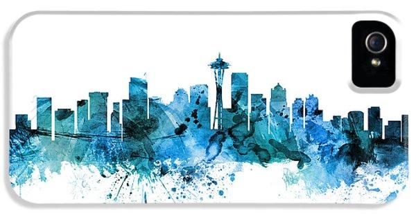 Seattle Skyline iPhone 5 Case - Seattle Washington Skyline by Michael Tompsett