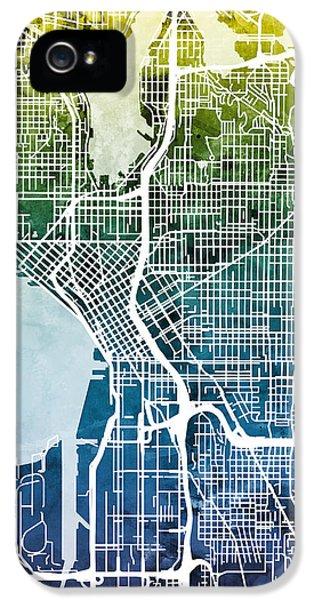 Seattle Washington Street Map IPhone 5 Case by Michael Tompsett