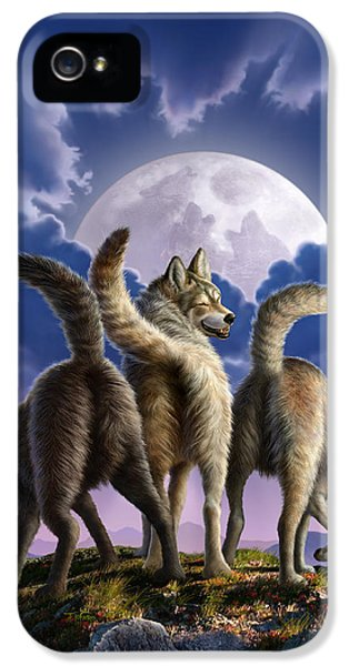 3 Wolves Mooning IPhone 5 Case by Jerry LoFaro