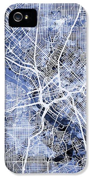 Dallas iPhone 5 Case - Dallas Texas City Map by Michael Tompsett