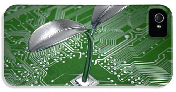Macro Circuit Board With Futuristic Plant IPhone 5 Case by Allan Swart