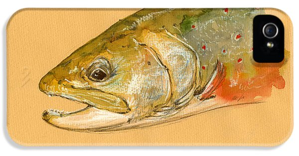 Trout Watercolor Painting IPhone 5 Case by Juan  Bosco