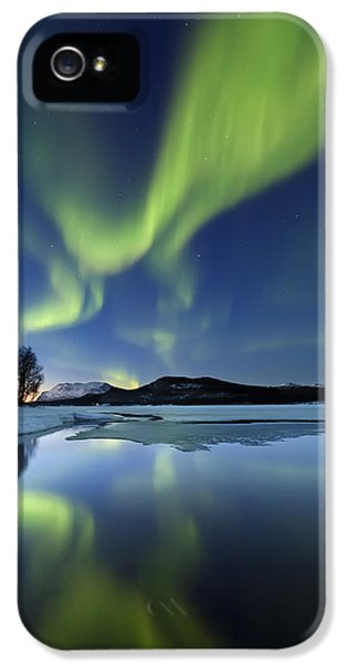 Dramatic Skies iPhone 5 Cases - Aurora Borealis Over Sandvannet Lake iPhone 5 Case by Arild Heitmann