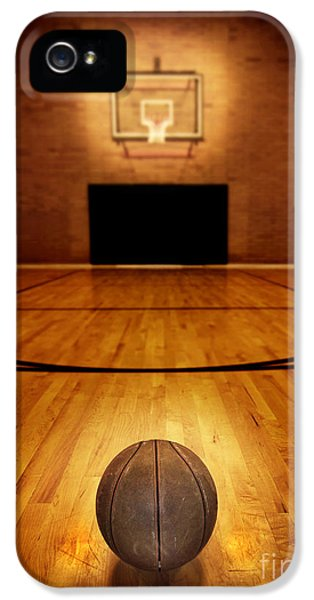 Basketball iPhone 5 Case - Basketball And Basketball Court by Lane Erickson