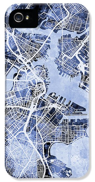 Boston Massachusetts Street Map IPhone 5 Case by Michael Tompsett
