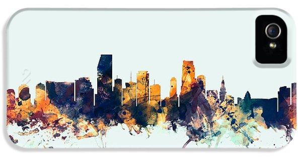 Miami Skyline iPhone 5 Case - Miami Florida Skyline by Michael Tompsett