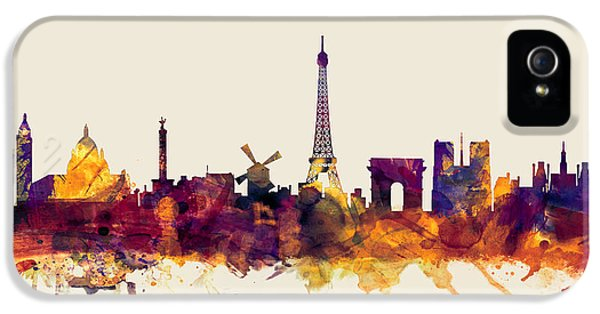 Paris France Skyline IPhone 5 Case by Michael Tompsett