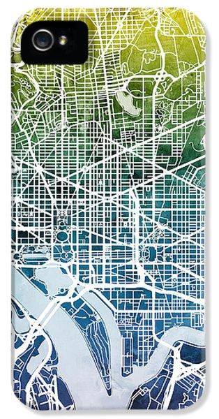 Washington Dc Street Map IPhone 5 Case by Michael Tompsett