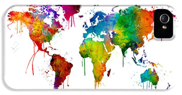 Watercolor Map Of The World Map IPhone 5 Case by Michael Tompsett