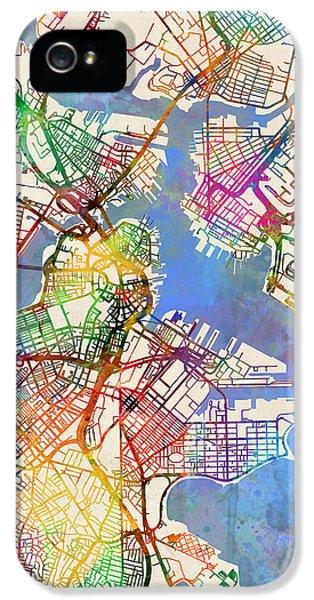Boston Massachusetts Street Map IPhone 5 / 5s Case by Michael Tompsett